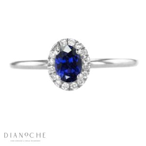 Oval sapphire ring with diamonds white gold