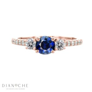 3 Stone sapphire and diamond ring rose gold