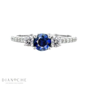 3 Stone sapphire and diamond ring white gold