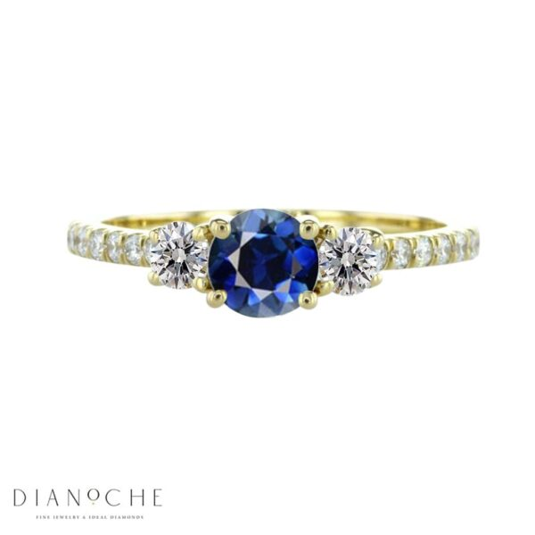 3 Stone sapphire and diamond ring yellow gold