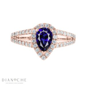 pear shaped Sapphire and diamond ring rose gold
