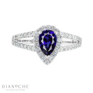 pear shaped Sapphire and diamond ring white gold