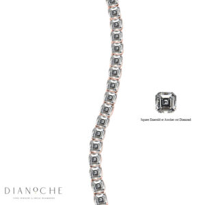 Asscher Cut Diamond Bracelet in rose gold
