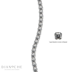 Asscher Cut Diamond Bracelet in yellow gold
