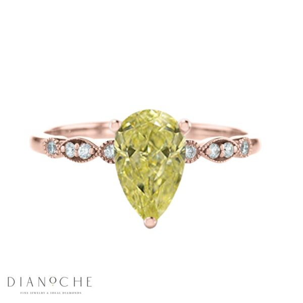 vintage yellow diamond ring rose gold