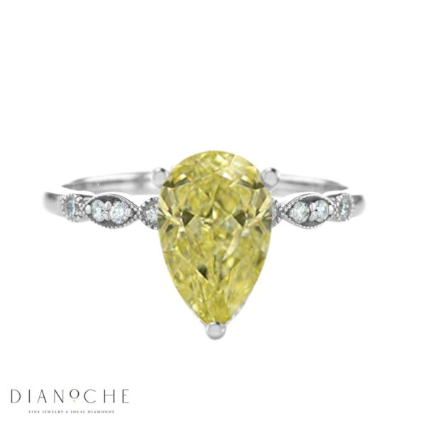 vintage yellow diamond ring white gold