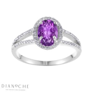 Oval amethyst ring white gold
