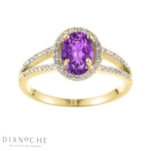 Oval amethyst ring yellow gold