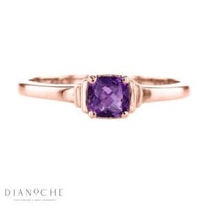 amethyst solitaire ring rose gold