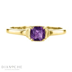 amethyst solitaire ring yellow gold