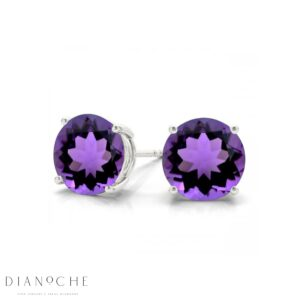 Amethyst earring studs white gold