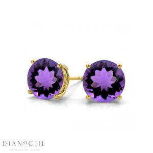 Amethyst earring studs yellow gold