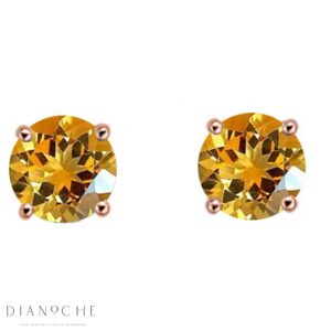 Citrine earring studs rose gold