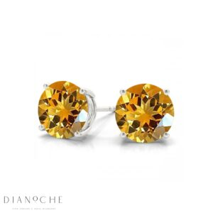Citrine earring studs white gold