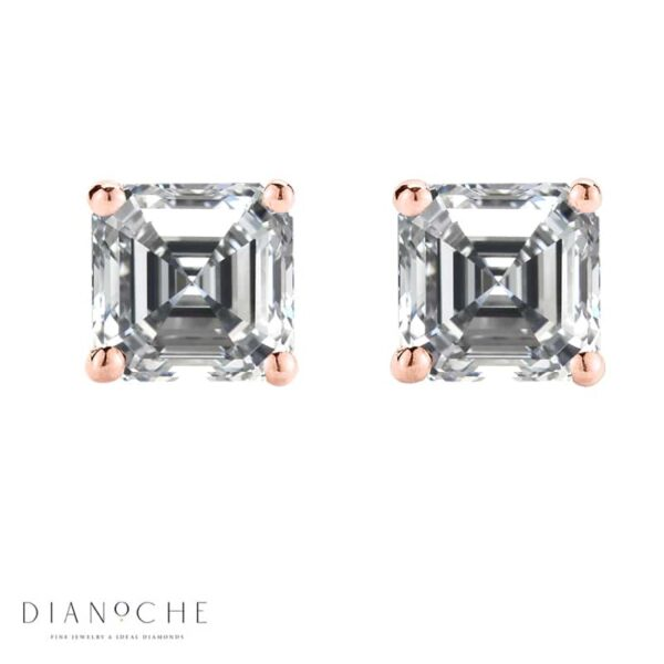 Asscher cut stud earrings rose gold