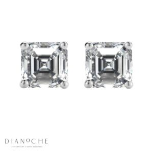 Asscher cut stud earrings white gold