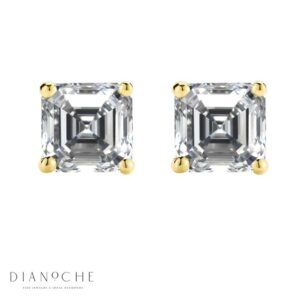 Asscher cut stud earrings yellow gold