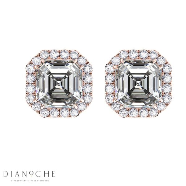 Pave Earrings Asscher Cut Diamonds rose gold