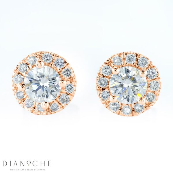 Pave Earrings Round Diamonds Rose Gold