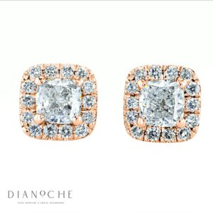 Pave Earrings Cushion Diamonds rose gold
