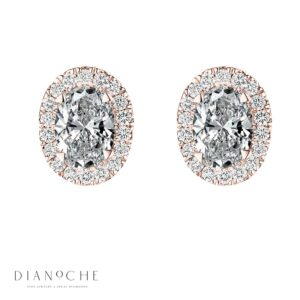 Pave Oval cut Diamond Earrings rose gold