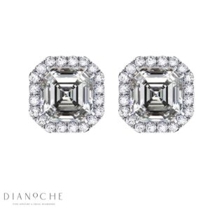 Pave Earrings Asscher Cut Diamonds GIA Cert white gold