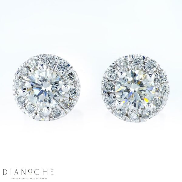 Pave Earrings Round Diamonds White Gold