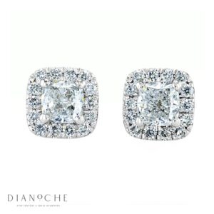 Pave Earrings Cushion Diamonds white gold