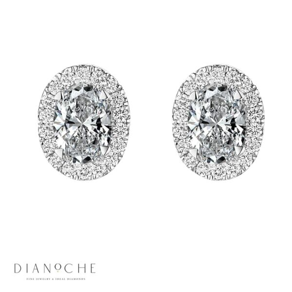 Pave Oval cut Diamond Earrings white gold