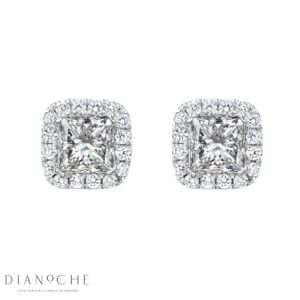 Pave Princess Diamond Earrings white gold
