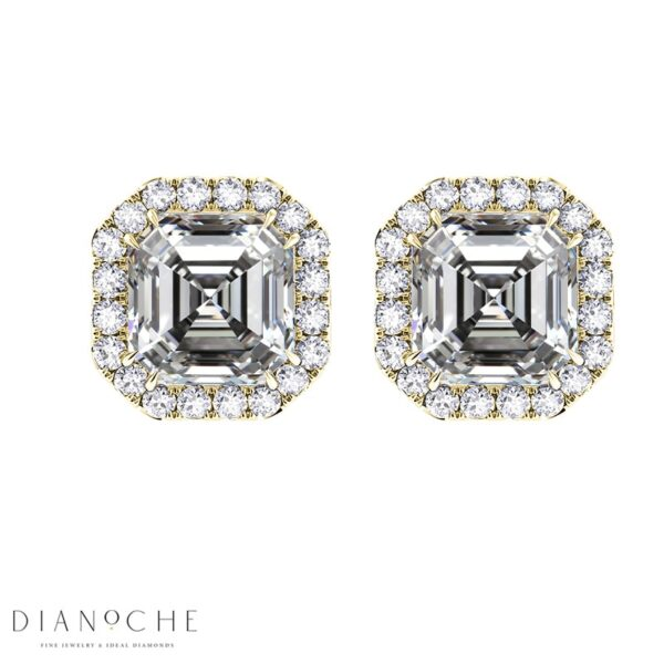 Pave Earrings Asscher Cut Diamonds GIA Cert yellow gold