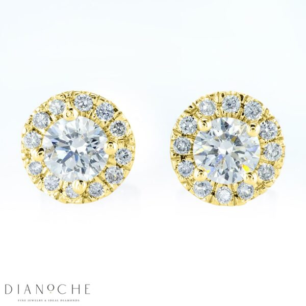 Pave Earrings Round Diamonds Yellow Gold