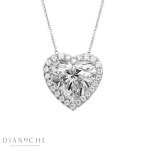 Pave Pendant Heart Shape Diamond GIA white gold