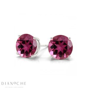 Pink sapphire earring studs white gold