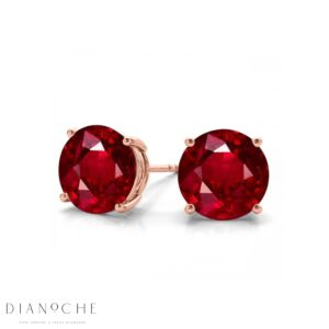 Ruby earring studs rose gold
