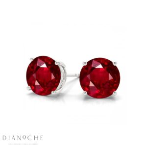 Ruby earring studs white gold