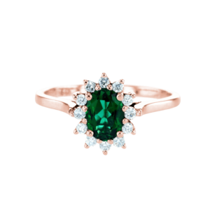 Small Diana Ring With Emerald Rose Gold