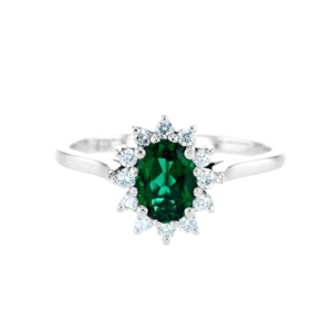Small Diana Ring With Emerald White Gold