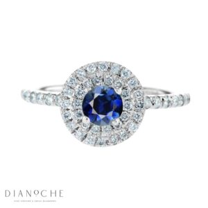 Blue sapphire ring with diamonds white gold