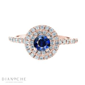 Blue sapphire ring with diamonds rose gold