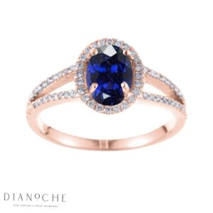 Sapphire ring with diamonds rose gold