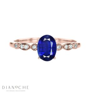vintage oval sapphire ring rose gold