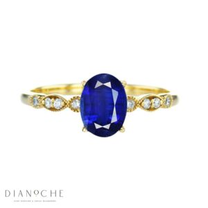 vintage oval sapphire ring yellow gold