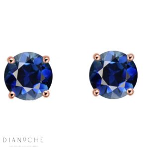 Sapphire earring studs rose gold