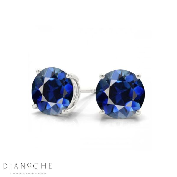 Sapphire earring studs white gold