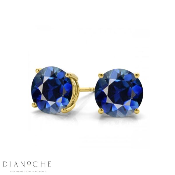 Sapphire earring studs yellow gold