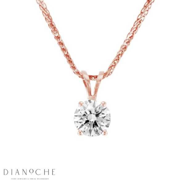 Solitaire Round Diamond Pendant GIA Certified Rose Gold